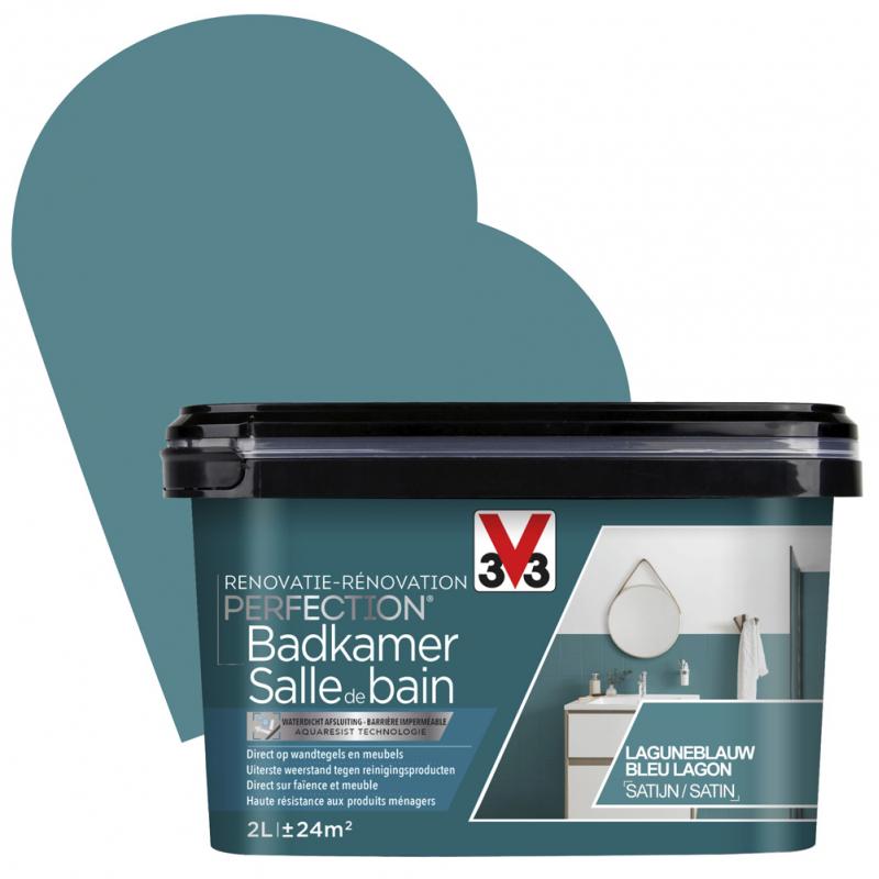 Peinture De Rénovation Pour Salle De Bain Bleu Lagon Satin