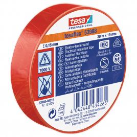 Ruban d'isolation électrique 20 m x 19 mm rouge TESA