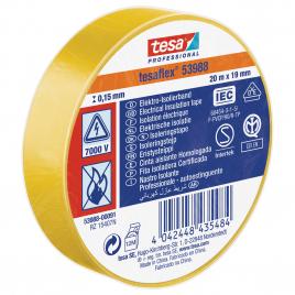 Ruban d'isolation électrique 20 m x 19 mm jaune TESA