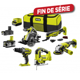 Pack machines R18CK5A-242S One+ 5 pièces RYOBI