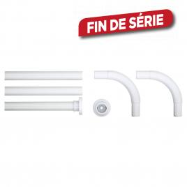 Kit de barre de rideau de douche en angle 5 pièces Ø 28 mm blanc SEALSKIN