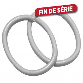 Set d'anneaux de rideau Clips gris 12 pièces en sachet SEALSKIN