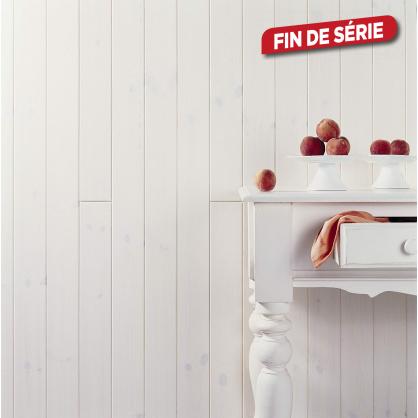 Lambris Sapin rouge du Nord V 9 x 90 mm Wax blanc L. 1,45 m