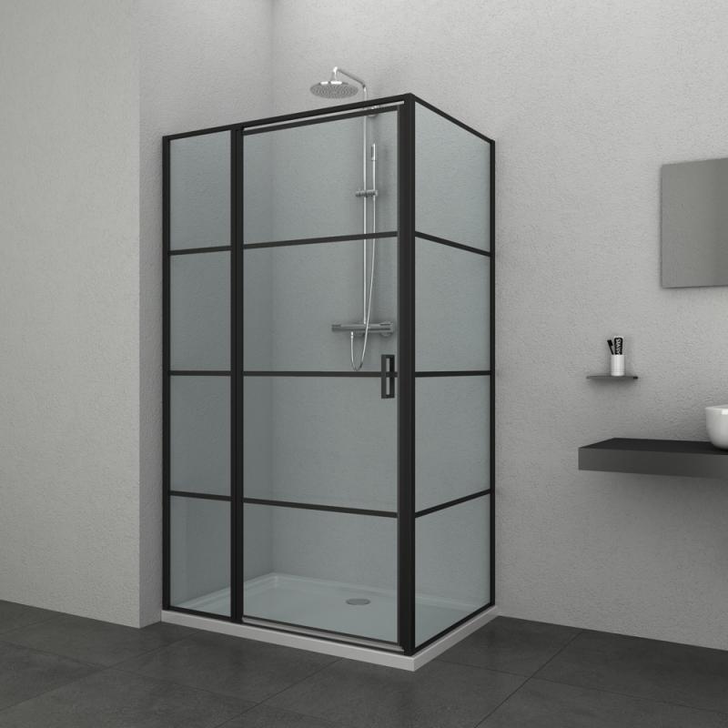Porte de douche pivotante avec paroi fixe loft game 90 x - Porte de douche avec paroi fixe ...