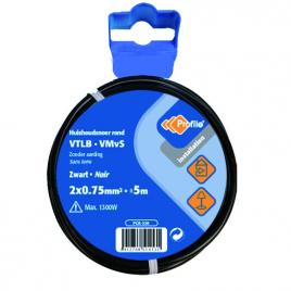 Câble VTLB 2 x 0.75 mm² 5 m noir PROFILE