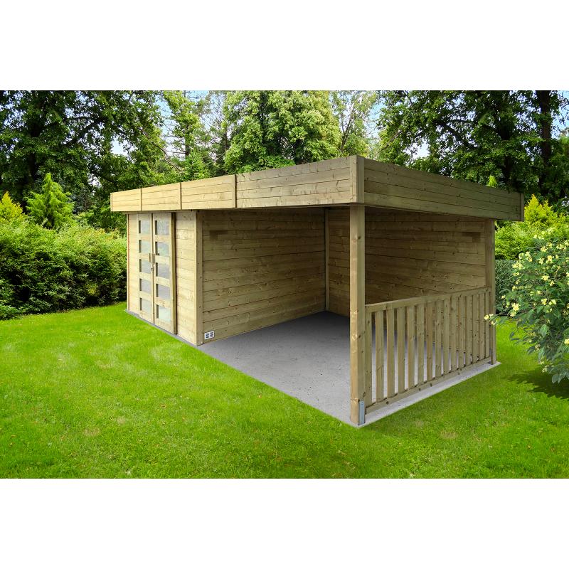 Abri de jardin moderne Arhus 28 mm 3,3 + 3,18 x 2,42 m SOLID - Mr.Bricolage