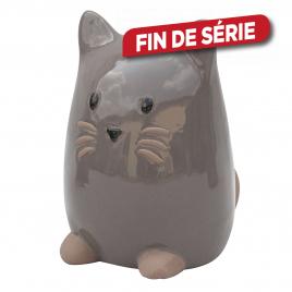 Chaton en céramique émaillée grise