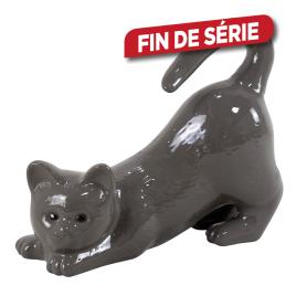 Chat étiré en céramique émaillée grise