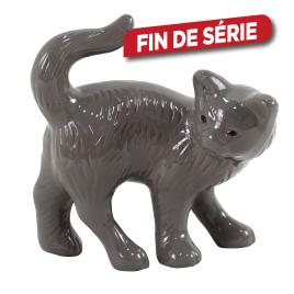 Chat en céramique émaillée grise
