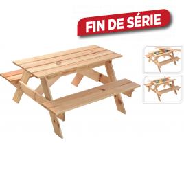 Table de pique-nique avec bac à sable 90 x 85 x 46 cm