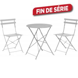 Ensemble bistro gris : 1 table ronde et 2 chaises