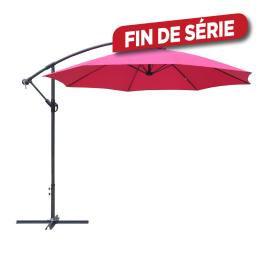 Parasol déporté inclinable avec manivelle framboise Ø 300 cm