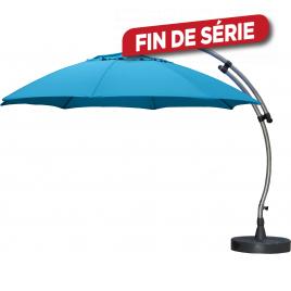 Parasol déporté et inclinable Easy Sun bleu pétrole Ø 375 cm SUNGARDEN