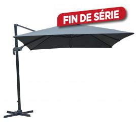 Parasol déporté gris avec manivelle 300 x 300 cm