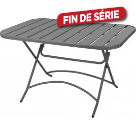 Table de jardin en métal pliante grise 120 x 80 x 71 cm