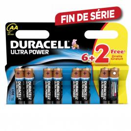 Set de piles alcalines AA Ultra Power 6 pièces + 2 gratuites DURACELL