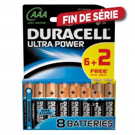 Set de piles alcalines AAA Ultra Power 6 pièces + 2 gratuites DURACELL