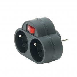 Domino 2 x 16A avec interrupteur noir PROFILE