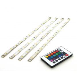 Set de rubans LED rgb avec télécommande 30 cm 4 pièces PROLIGHT