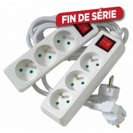 Set de multiprises avec interrupteur 3 prises 2 pièces PROFILE