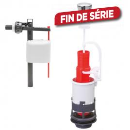 Mécanisme de chasse d'eau avec simple bouton poussoir à plateaux et robinet à piston INVENTIV