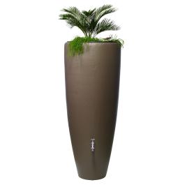 Tonneau à eau de pluie avec bac à plantes taupe 300 L