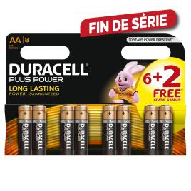 Pile alcaline AA Plus Power 6 + 2 pièces DURACELL