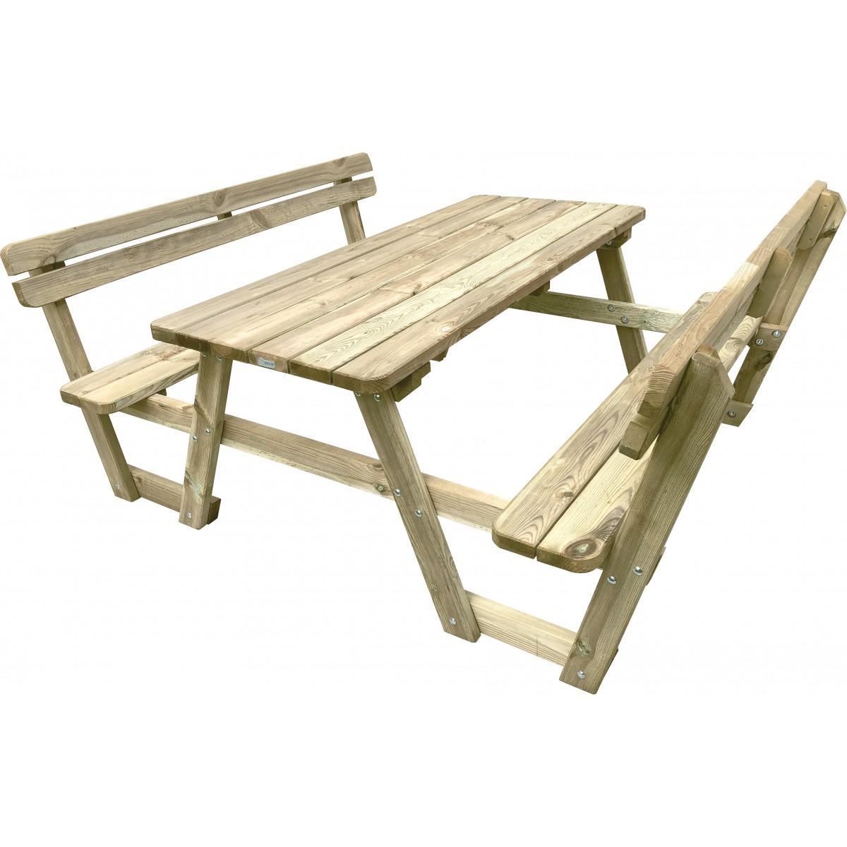 Table de pique-nique avec dossier 9 x 9 x 9 cm SOLID - Mr.Bricolage