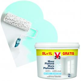Peinture pour murs et plafonds blanc mat 6 L V33