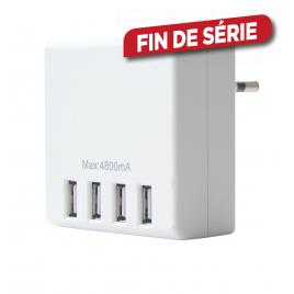Chargeur 4 ports USB sur secteur 24 W