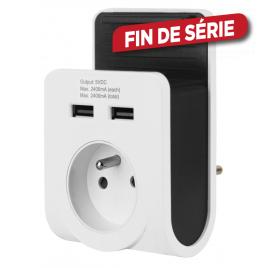 Chargeur 2 ports USB et prise sur secteur