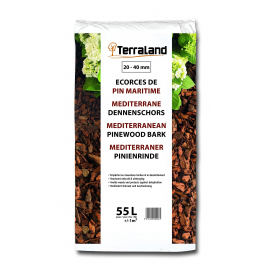 Palette 45 sacs Écorces de pin maritime des Landes décoratives 55 L TERRALAND (livraison à domicile)