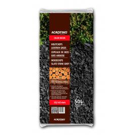 Sac de copeaux de bois gris ardoises 10 - 40 mm 50 L AGROFINO