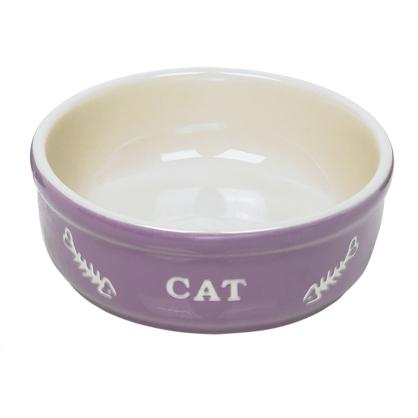 Gamelle mauve en terre cuite pour chat Ø 14 cm