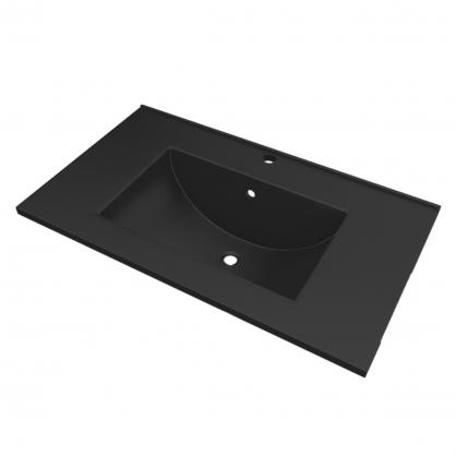 Plan de toilette ready 80 cm noir aurlane - Plan de travail 80 cm largeur ...