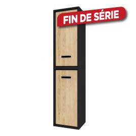 Colonne de salle de bain Fjord noire 2 portes bois 35 cm AURLANE