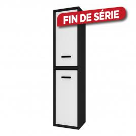 Colonne de salle de bain Fjord noire 2 portes blanches 35 cm AURLANE