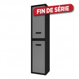 Colonne de salle de bain Fjord noire 2 portes grises 35 cm AURLANE