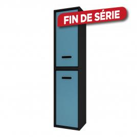 Colonne de salle de bain Fjord noire 2 portes bleues 35 cm AURLANE