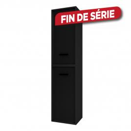 Colonne de salle de bain Fjord noire 2 portes noires 35 cm AURLANE