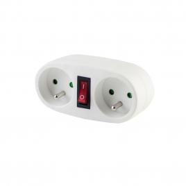 Domino 2 x 16 A avec interrupteur blanc CHACON