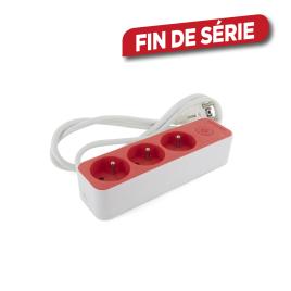 Multiprise 3 prises 3 x 1,5 mm² blanc et rouge CHACON