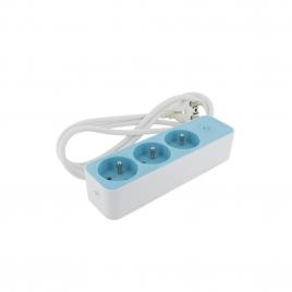 Multiprise 3 prises 3 x 1,5 mm² blanc et bleu CHACON