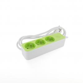 Multiprise 3 prises 3 x 1,5 mm² blanc et vert CHACON