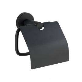 Porte-rouleau papier toilette avec rabat Bosio noir mat WENKO