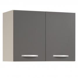 Meuble de cuisine haut Eko gris brillant avec 2 portes 80 x 35 x 58 cm EKIPA