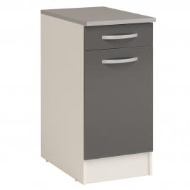 Meuble de cuisine Eko avec 1 porte et 1 tiroir gris brillant 40 x 60 x 86 cm EKIPA
