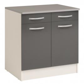 Meuble de cuisine Eko avec 2 portes et 2 tiroirs gris brillant 80 x 60 x 86 cm EKIPA