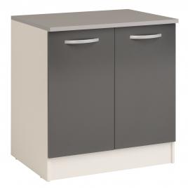 Meuble de cuisine sous-évier Eko gris brillant 80 x 60 x 86 cm EKIPA
