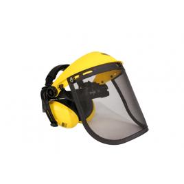 Visière grillagée avec casque anti-bruit